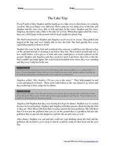 The Lake Trip Worksheet