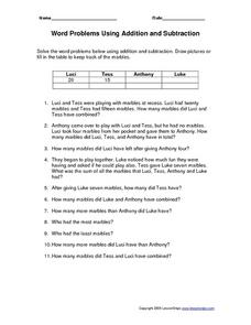 Word Problems Using Addition and Subtraction Worksheet