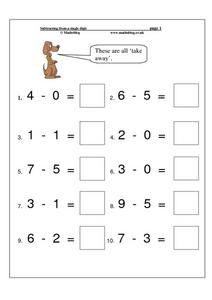 Subtracting From a Single Digit Worksheet