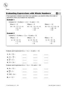 Evaluating Expressions with Whole Numbers Worksheet