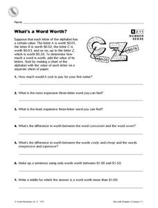 What's a Word Worth? Worksheet