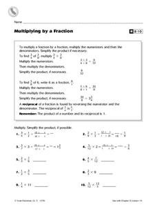 Multiplying by a Fraction Worksheet