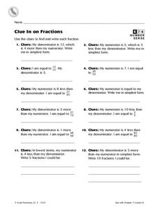 Clue in on Fractions Worksheet