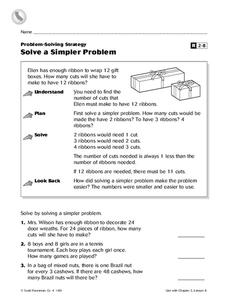 Solve a Simpler Problem Worksheet