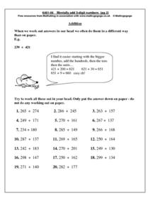 Mentally Add 3 Digit Numbers Worksheet