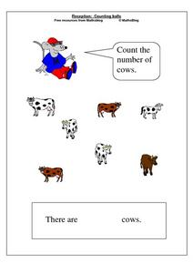 Reception: Counting Balls - Cows Worksheet
