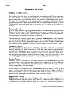 Forests of the World Worksheet