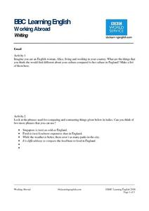 BBC Learning English, Writing (E-mail) Worksheet