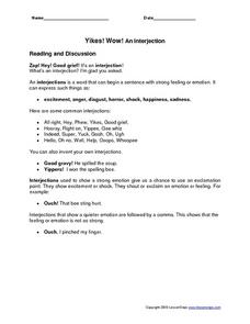 Yikes! Wow! An Interjection Worksheet
