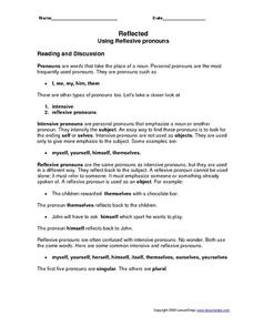 Reflected: Using Reflexive pronouns Worksheet