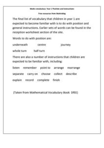 Math Vocabulary: Year 1 Position and Instructions Worksheet