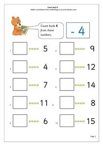 Count back 4 Worksheet