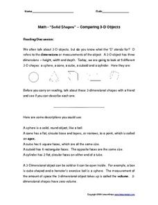 "Math - ""Solid Shapes"" - Comparing 3-D Objects Worksheet"