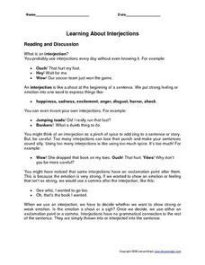 Learning About Interjections Worksheet