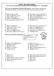 More Tables Questions Worksheet