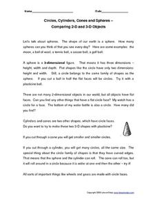 Circles, Cylinders, Cones and Spheres Worksheet