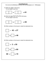 Addition and Subtraction, Multiplication and Division Review Worksheet
