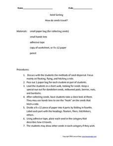 How Do Seeds Travel? Worksheet