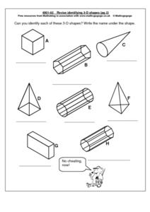 Revise Identifying 3-D Shapes pg 2 Worksheet