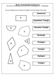 Revise Identifying 2-D Shapes  pg 1 Worksheet