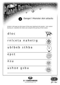 Planet Dermis : Danger! Monster Skin Attacks Worksheet