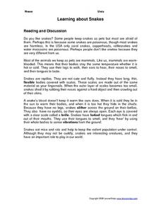 Learning about Snakes- Non-Fiction Reading Comprehension Worksheet Worksheet