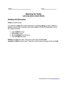 Stand Up For Verbs: Learning About Action Verbs Worksheet