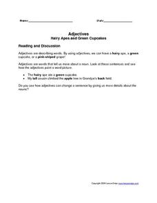 Adjectives: Hairy Apes and Green Cupcakes Worksheet