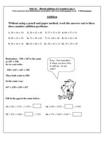 Mental Addition of 3 numbers  pg. 1 Worksheet