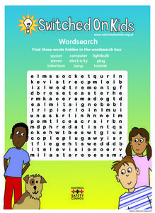 Switched on Kids: Word Search Worksheet