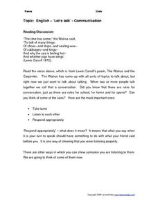 Topic: English -'let's Talk' -communication Worksheet