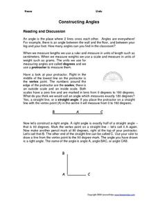 Constructing angles Worksheet