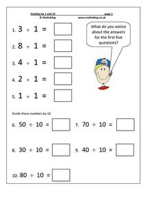Dividing by 1 and 10 Worksheet