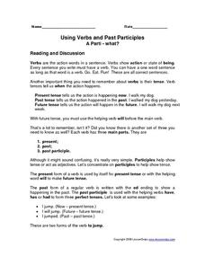 Using Verbs and Past Participles Worksheet