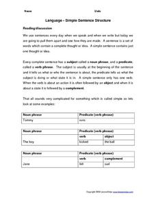 Language - Simple Sentence Structure Worksheet
