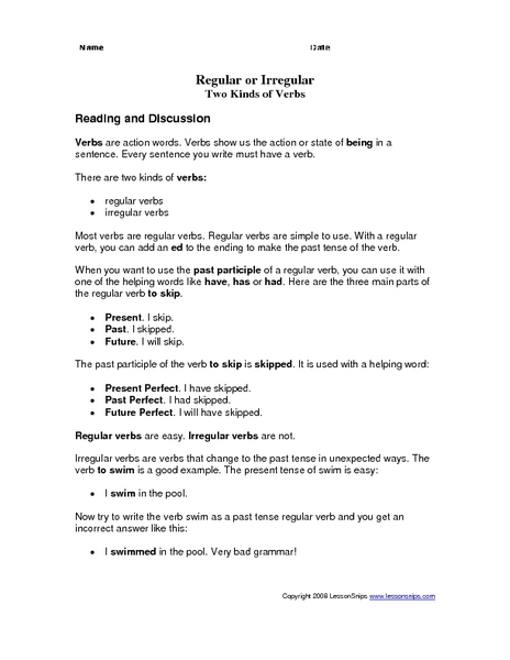 Regular Or Irregular: Two Kinds Of Verbs Worksheet For 2nd - 4th Grade  Lesson Planet