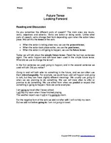 Future Tense Looking Forward Worksheet