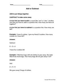 Add or Subtract: Story Problems Worksheet