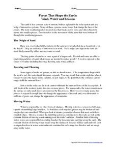 Forces That Shape the Earth: Wind, Water and Erosion Worksheet