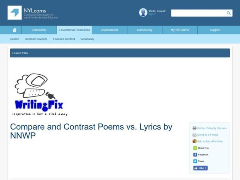 Compare and Contrast Poems vs. Lyrics Lesson Plan