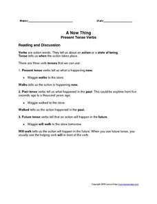 A Now Thing: Present Tense Verbs Worksheet