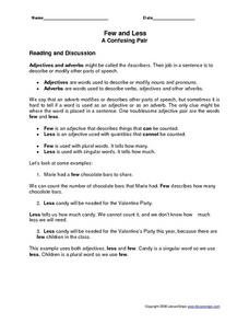 Few and Less: A Confusing Pair Worksheet