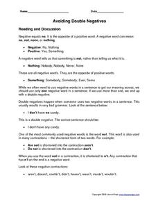 Double Negatives Lesson Plans & Worksheets Reviewed by Teachers