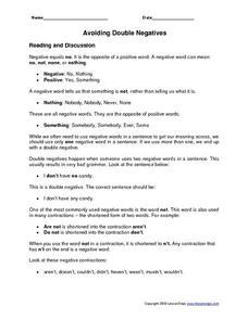 English worksheets: Double negative Worksheet