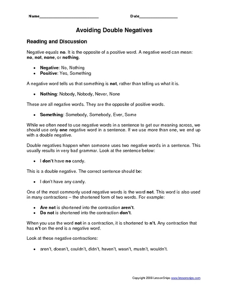 All Worksheets » Double Negative Sentences Worksheets - Printable ...
