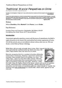 Traditional Marxist Perspectives on Crime Worksheet