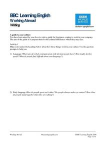 BBC Learning English, Writing (Culture) Worksheet