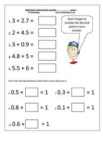 Beginning to Add Decimals Mentally Worksheet