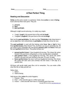 A Past Perfect Thing Worksheet