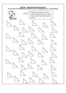 Group Triangles Into Fives Or Tens Worksheet